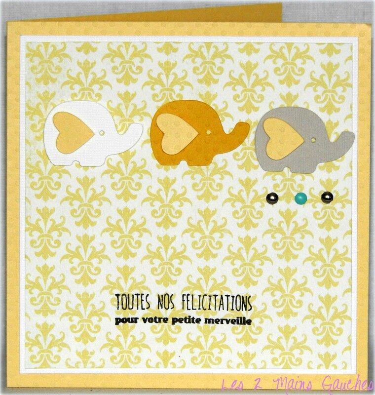 carte de naissance unisexe jaune avec éléphants