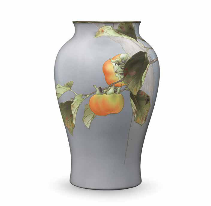 Exceptionally Fine Baluster Moriage Cloisonn Enamel Vase Achieves