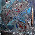 Fragments de pigments acrylique et tissus enduits d'argile et gomme arabique 50 x 80cm