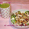 Dîner végétarien (soupe 'verte' et salade au tofu fumé)