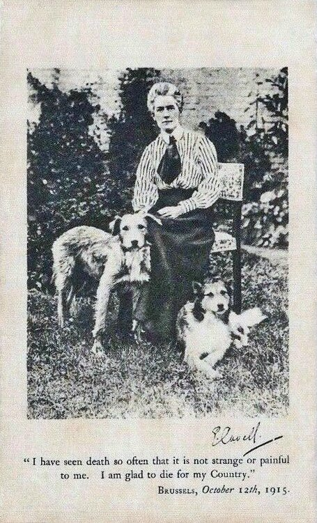 CPA Edith Cavell avec chiens