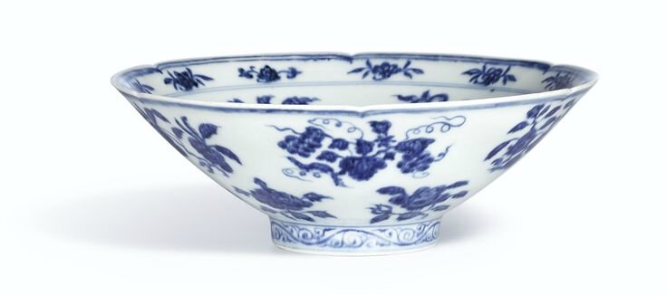 A fine and rare blue and white lobed bowl, Mark and period of Xuande3