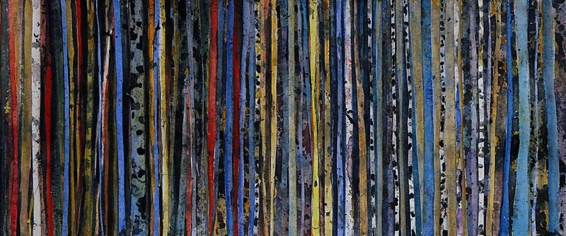 forêt 59 (Bis), avril 2016, collage aquarelle, 56 x 24 cm
