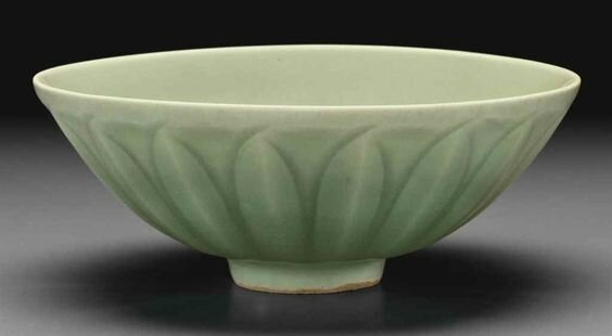 A Longquan celadon carved bowl, Southern Song-Yuan dynasty, 13th century