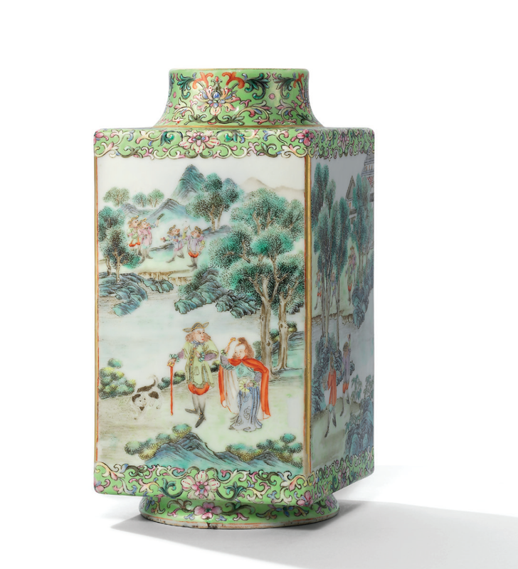 A rarefamille roselime-green ground 'Western figures'cong-form vase, Qing dynasty, 18th century