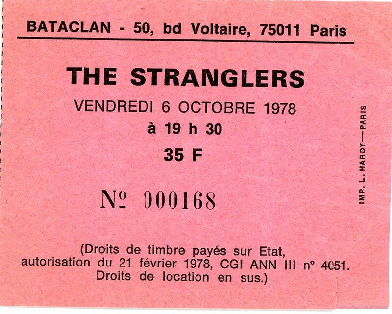 1978 10 The Stranglers Bataclan Billet