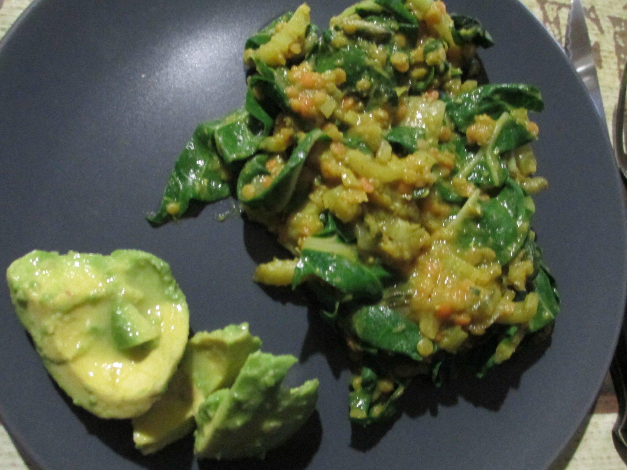 Lentilles corail aux blettes , Vegan