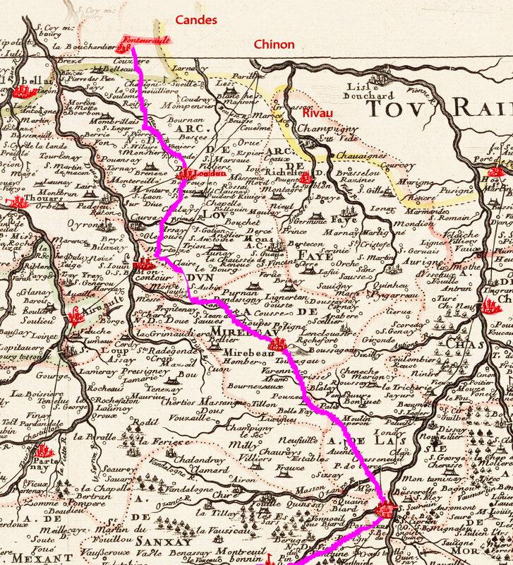 Carte Trajet d'Aliénor d'Aquitaine après les funérailles de Richard Coeur de Lion Fontevraud Poitiers