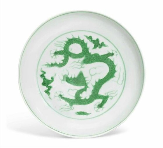 A fine green-enamelled 'Dragon' dish, Zhengde six-character mark in underglaze blue within a double circle and of the period (1506-1521)