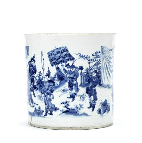 A blue and white brushpot, bitong, Chongzhen period (1627–1644)