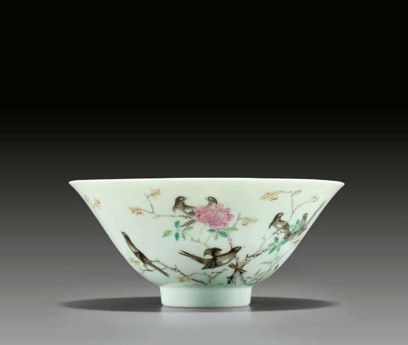 A very rarefamille rose'magpie' bowl, Daoguang six-character seal mark in underglaze blue and of the period (1821-1850)