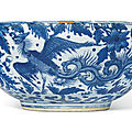 A large blue and white 'dragon and phoenix' bowl, wanli period (1573-1619)