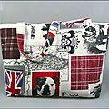Sac cabas, fourre-tout en coton à motifs style anglais