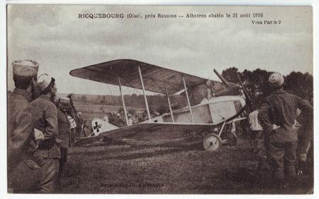 60 - RIQUEBOURG - Albatros aattu le 31 août 1916