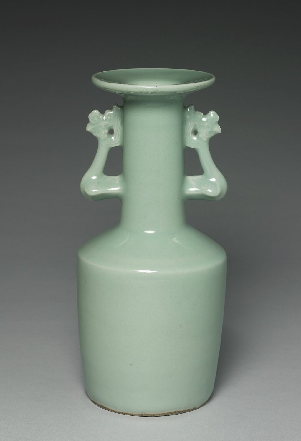 Celadon-glazed vase with phoenix-shaped handles, Longquan ware, Southern Song dynasty, 1127-1279