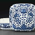 A large blue and white cushion-form box and a cover, Wanli six-character mark in underglaze blue and of the period (1573-1619)