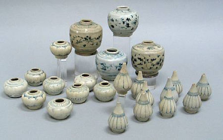 A selection of twenty-three blue and white bottles and jars. Late 15th/Early 16th Century