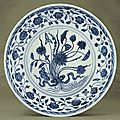 A rare Ming blue and white dish