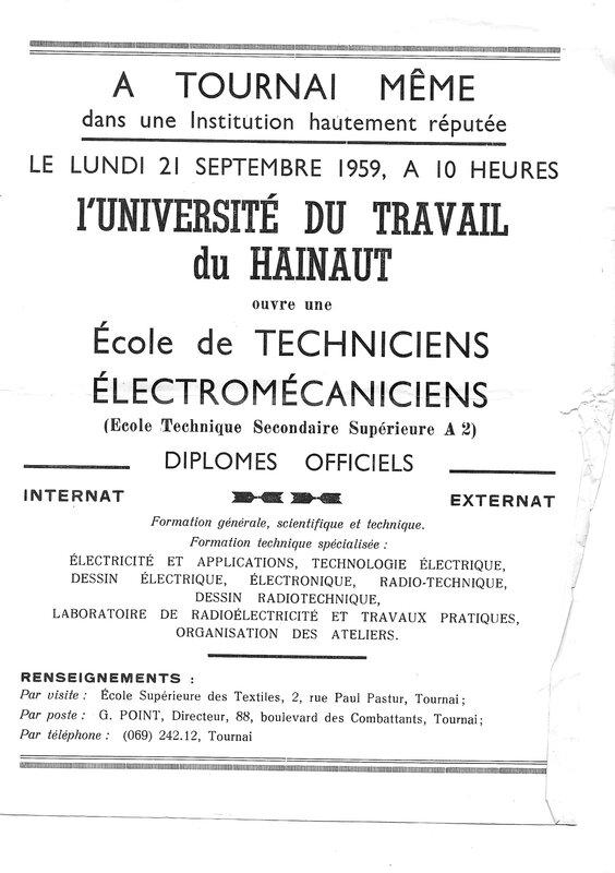 1959 Ouverture de la section électromécaniciens