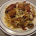 Spaghetti aux boulettes de viande et jambon serrano à la tomate