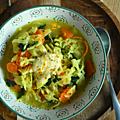 Soupe de riz aux légumes & curcuma, crème mascarpone & curcuma