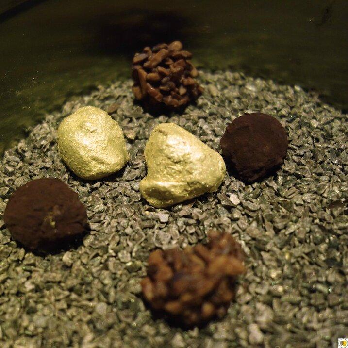 Croquant d'amandes, truffe au rhum, pépite d'or (1)