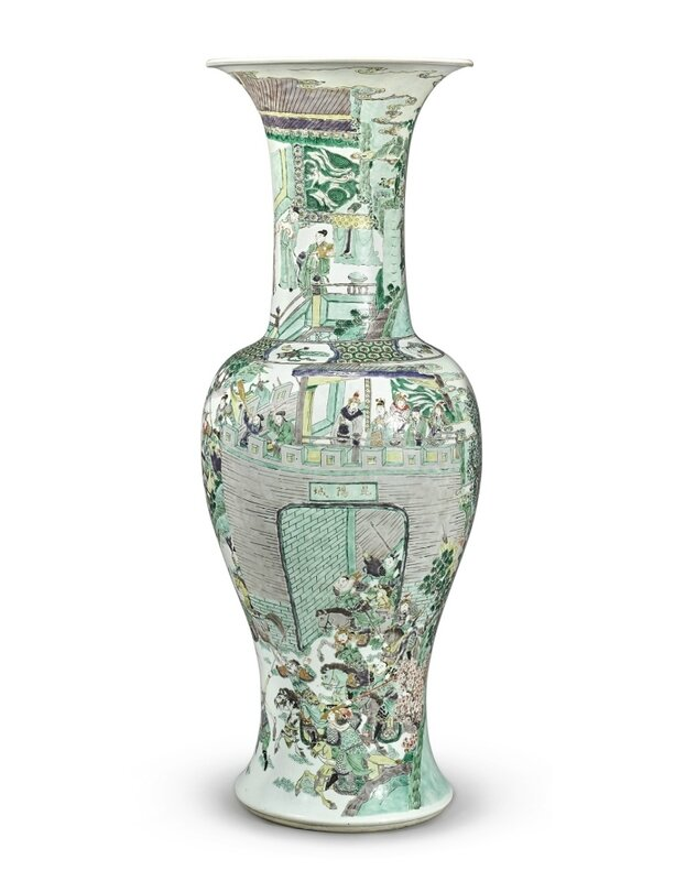 A large famille-verte 'Tale of Kunyang City' yen yen vase, Qing dynasty, Kangxi period (1662-1722)