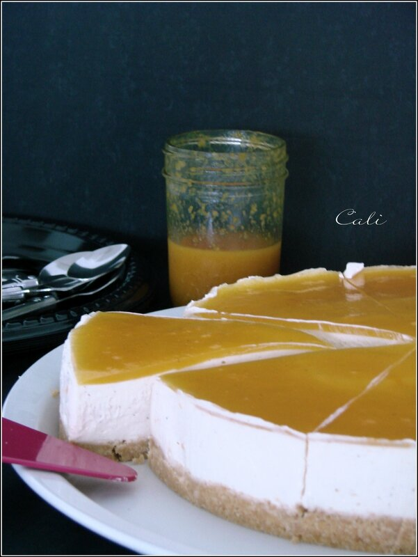 Cheesecake à la Vanille & Coulis Passion, sans cuisson, sans gélifiant 002