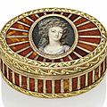 A louis xv three-colour gold and hardstone snuff-box set with a portrait miniature of queen marie-antoinette of france