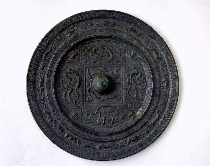 Bronze Mirror with Design of Four Mythical Animals, Sui Period