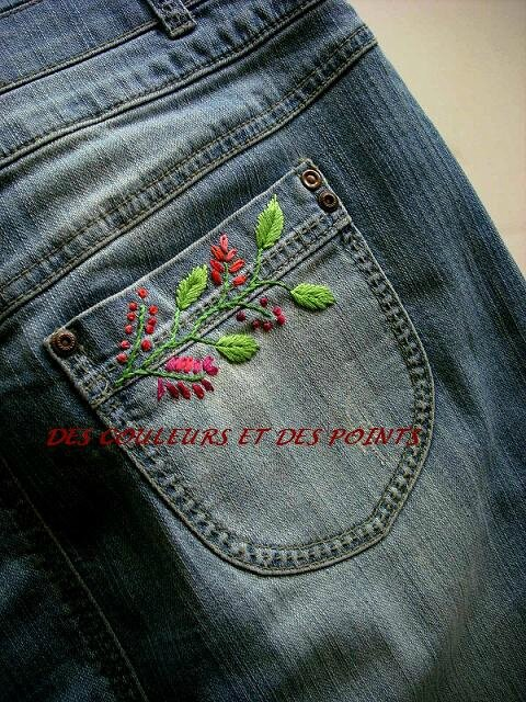 jupe jean's brodée détails dos 2 bis