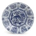 A chinese late ming blue and white 'kraak porselein' charger . circa 1595-1610