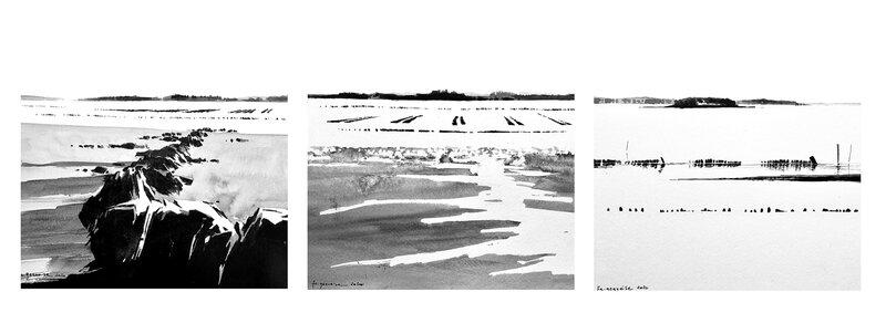 triptyque golfe du morbihan (Penboch 1, 2, 3), encre de chine 3 x 23 x 23 cm, fevrier 2020