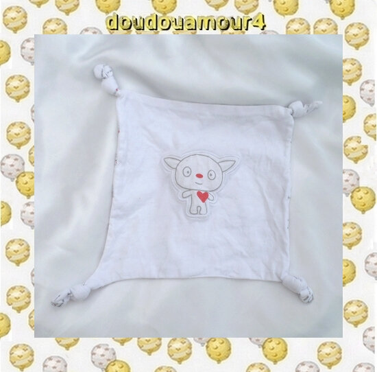 Doudou Mouchoir Plat Blanc Chien Gris Coeur Rouge I Love Mommy I Love Daddy