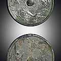 Two silvery-grey bronze circular mirrors, Tang dynasty (618-907)