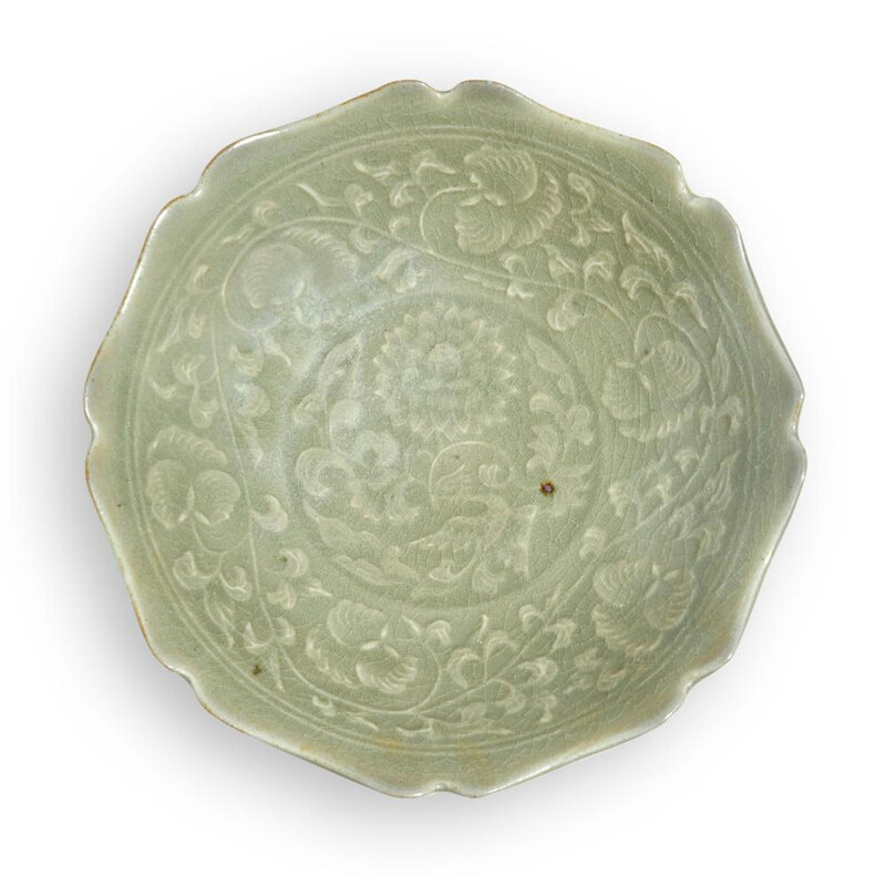 A 'Yaozhou' celadon foliate-shaped dish, Yuan-Early Ming dynasty