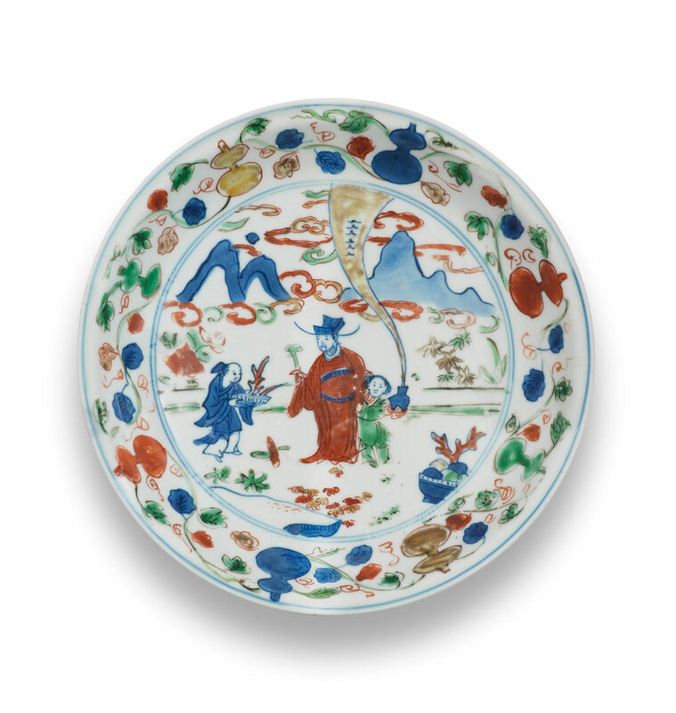 A wucai 'Immortal' dish, Wanli six-character mark and of the period (1573-1620)