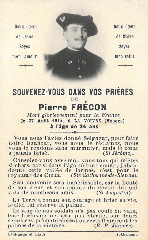 Pierre Frécon, image pieuse