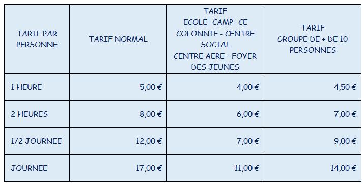 nouveau tarifs