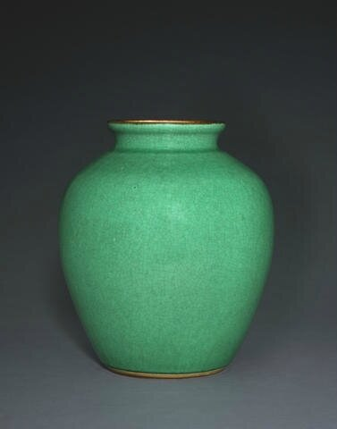 An apple green glazed ovoid jar, Kangxi. Photo Bonhams