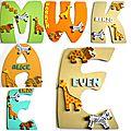 Plaques de porte et lettres en bois thème animaux de la savane