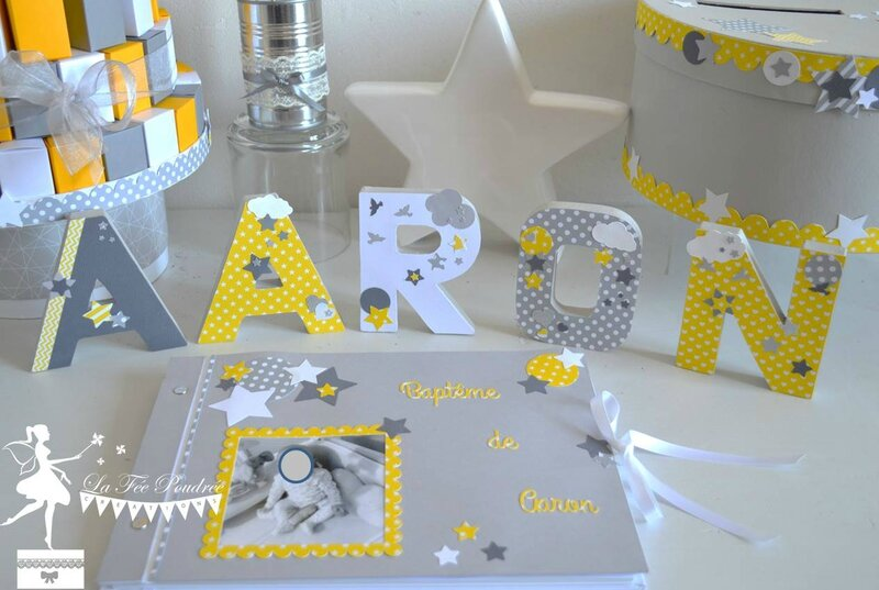 decoration bapteme theme etoile jaune gris blanc livre or gateau dragees urne lettres prenom decorees