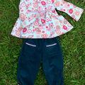 Pantalon et et blouse japonisants en taille 3 ans