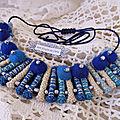 ♥ greece ♥ collier bleu rouleaux en tissu les yoyos de calie