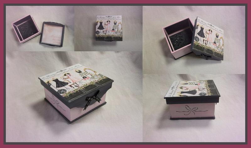 Petite boîte carrée gris et rose 2