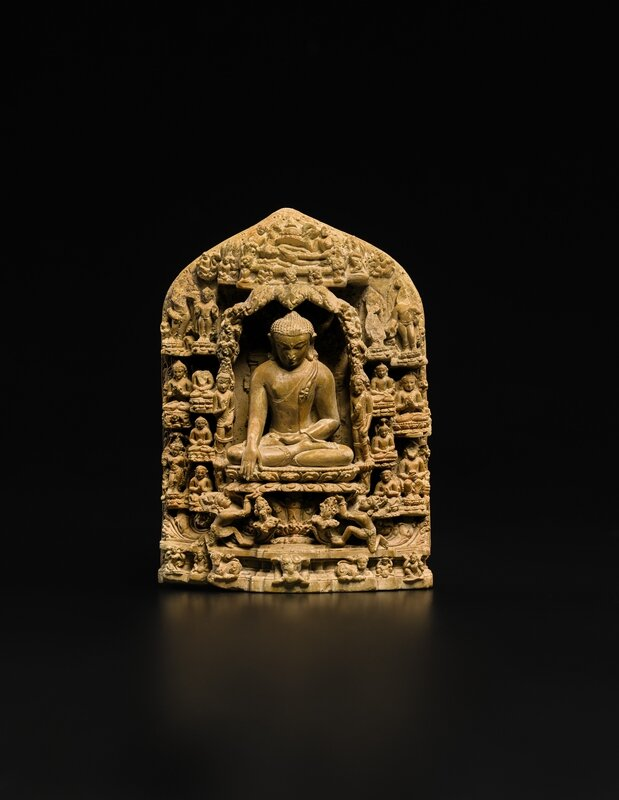 479N09478_8TP2Q (Fine Sedimentary Stone Stele Depicting Scenes from the Life of Buddha)