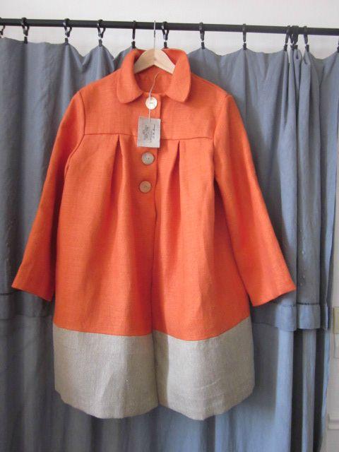 manteau d'été bicolore en lin orange et lin brut (9)
