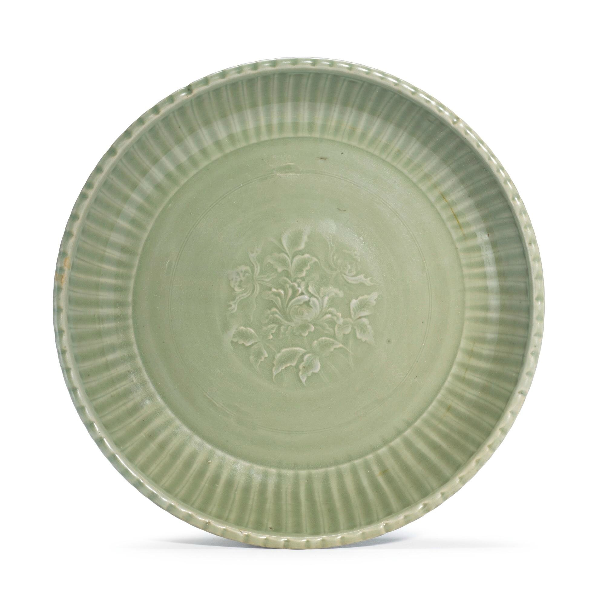 A large 'Longquan' celadon 'Peony' dish, Early Ming dynasty, 14th Century