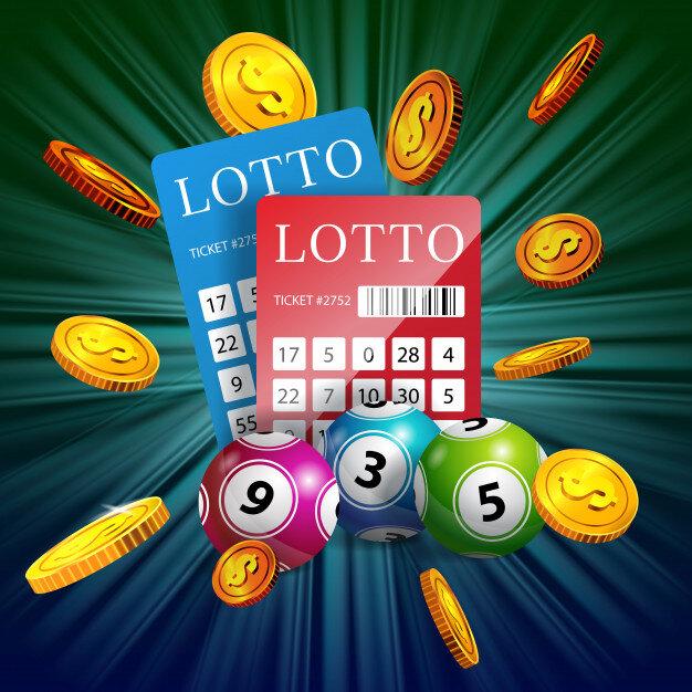 billets-de-loterie-balles-et-pieces-d-39-or-volantes-publicite-d-39-entreprise-de-jeu_1262-13075