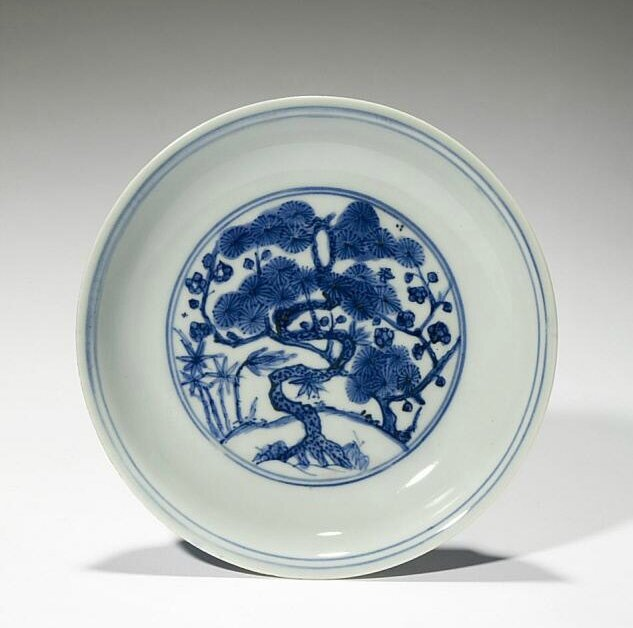 Plate with the Three Friends of Winter, Ming dynasty (1368-1644), Jiajing six-character mark and of the period